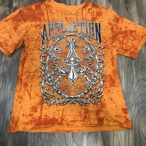 Affliction Live Fast Orange Distressed Shirt L